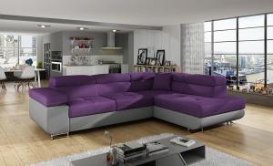 NABBI Almero P rohová sedačka s rozkladom a úložným priestorom fialová / sivá