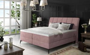NABBI Altama 160 čalúnená manželská posteľ s úložným priestorom ružová