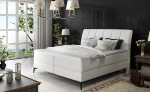NABBI Altama 180 čalúnená manželská posteľ s úložným priestorom biela