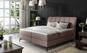 NABBI Altama 180 čalúnená manželská posteľ s úložným priestorom svetlohnedá