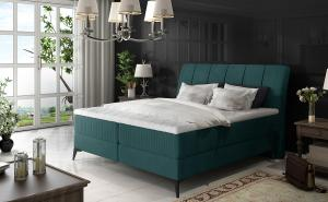 NABBI Altama 180 čalúnená manželská posteľ s úložným priestorom tyrkysová