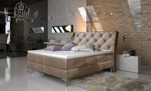 NABBI Amika 140 čalúnená manželská posteľ s úložným priestorom hnedá