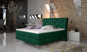 NABBI Amika 140 čalúnená manželská posteľ s úložným priestorom tmavozelená