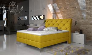 NABBI Amika 180 čalúnená manželská posteľ s úložným priestorom žltá