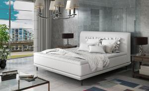 NABBI Ancona 140 čalúnená manželská posteľ biela