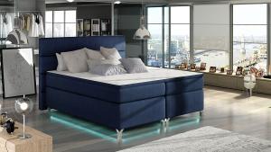 NABBI Avellino 160 čalúnená manželská posteľ s úložným priestorom tmavomodrá