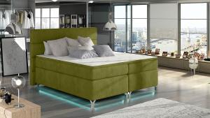 NABBI Avellino 160 čalúnená manželská posteľ s úložným priestorom zelená