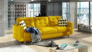 NABBI Aveza 3F rozkladacia trojsedačka s úložným priestorom žltá / vzor