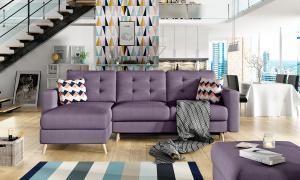 NABBI Aveza L/P rohová sedačka s rozkladom a úložným priestorom fialová / vzor