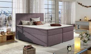 NABBI Barmo 140 čalúnená manželská posteľ s úložným priestorom fialová
