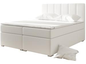 NABBI Barmo 160 čalúnená manželská posteľ s úložným priestorom biela