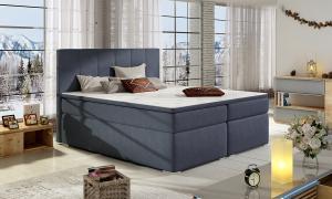NABBI Barmo 180 čalúnená manželská posteľ s úložným priestorom modrá