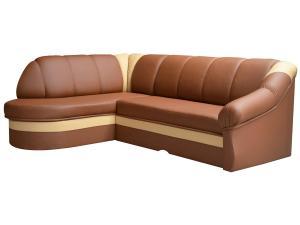 NABBI Belluno L rohová sedačka s rozkladom a úložným priestorom hnedá / krémová