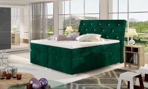 NABBI Beneto 140 čalúnená manželská posteľ s úložným priestorom tmavozelená