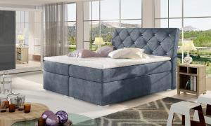 NABBI Beneto 160 čalúnená manželská posteľ s úložným priestorom modrá