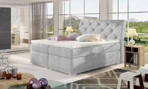 NABBI Beneto 160 čalúnená manželská posteľ s úložným priestorom svetlosivá (Omega 02)