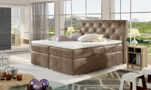NABBI Beneto 180 čalúnená manželská posteľ s úložným priestorom hnedá