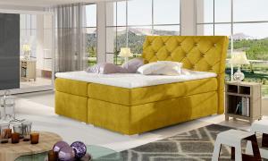 NABBI Beneto 180 čalúnená manželská posteľ s úložným priestorom žltá