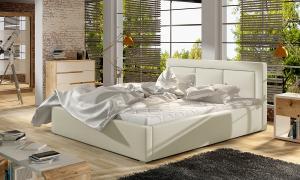 NABBI Branco 140 čalúnená manželská posteľ s roštom béžová