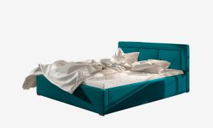 NABBI Branco 160 čalúnená manželská posteľ s roštom tyrkysová
