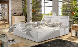 NABBI Branco UP 200 čalúnená manželská posteľ s roštom biela