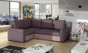 NABBI Castelo L rohová sedačka s rozkladom a úložným priestorom fialová / ružová