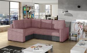 NABBI Castelo L rohová sedačka s rozkladom a úložným priestorom ružová / tmavosivá