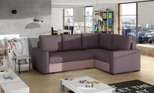 NABBI Castelo P rohová sedačka s rozkladom a úložným priestorom fialová / ružová
