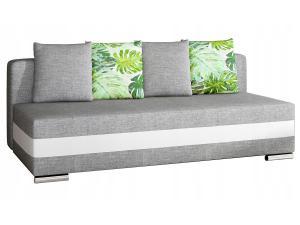 NABBI Copparo rozkladacia pohovka s úložným priestorom svetlosivá / biela / vzor
