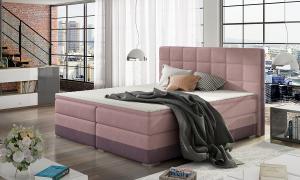 NABBI Dalino 140 čalúnená manželská posteľ s úložným priestorom ružová / fialová