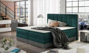 NABBI Dalino 180 čalúnená manželská posteľ s úložným priestorom svetlomodrá / sivá