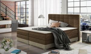 NABBI Dalino 180 čalúnená manželská posteľ s úložným priestorom tmavohnedá (Dora 26) / béžová (Dora 21)