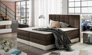 NABBI Dalino 180 čalúnená manželská posteľ s úložným priestorom tmavohnedá (Sawana 26) / béžová (Soft 33)