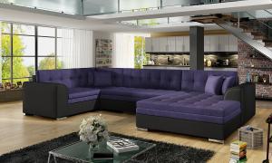 NABBI Deramo U L rohová sedačka u s rozkladom fialová / čierna