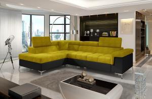 NABBI Enna L rohová sedačka s rozkladom a úložným priestorom žltá / čierna