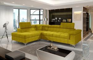 NABBI Enna L rohová sedačka s rozkladom a úložným priestorom žltá