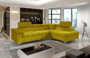 NABBI Enna P rohová sedačka s rozkladom a úložným priestorom žltá