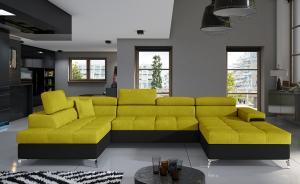 NABBI Enrico U L rohová sedačka u s rozkladom a úložným priestorom žltá / čierna