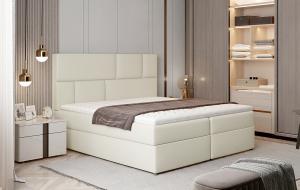 NABBI Ferine 185 čalúnená manželská posteľ s úložným priestorom béžová