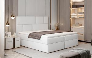 NABBI Ferine 185 čalúnená manželská posteľ s úložným priestorom biela