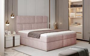 NABBI Ferine 185 čalúnená manželská posteľ s úložným priestorom ružová