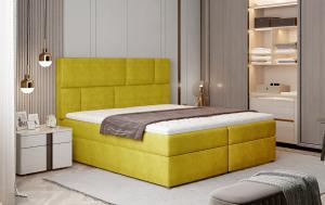 NABBI Ferine 185 čalúnená manželská posteľ s úložným priestorom žltá