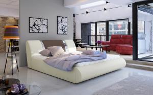 NABBI Folino 140 čalúnená manželská posteľ s roštom béžová / hnedá