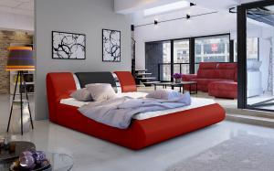 NABBI Folino 140 čalúnená manželská posteľ s roštom červená / čierna