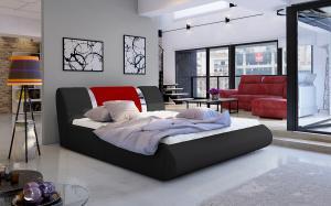 NABBI Folino 140 čalúnená manželská posteľ s roštom čierna / červená