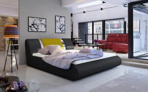 NABBI Folino 140 čalúnená manželská posteľ s roštom čierna / žltá