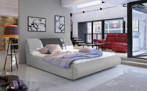 NABBI Folino 140 čalúnená manželská posteľ s roštom svetlosivá / tmavosivá