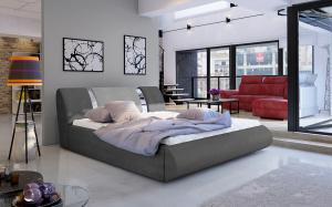 NABBI Folino 140 čalúnená manželská posteľ s roštom tmavosivá / svetlosivá