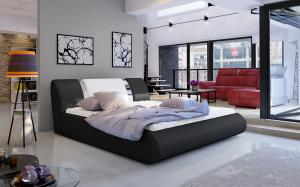 NABBI Folino 160 čalúnená manželská posteľ s roštom čierna / biela