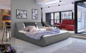 NABBI Folino 160 čalúnená manželská posteľ s roštom sivá / tmavosivá